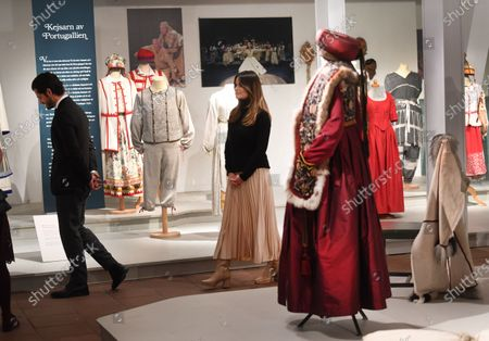 Prince Carl Philip and Princess Sofia looking at a costume exhibition at Vastana theatre in Sunne, Sweden. The Prince Couple are spending the day in Varmland County to see how it has been affected by Covid-19.