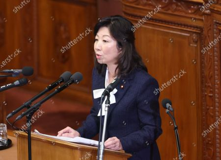 Ruling Liberal Democratic Party (LDP) acting secretary general Seiko Noda questions to Prime Minister Yoshihide Suga at Lower House's plenary session at the National Diet in Tokyo on Wednesday, October 28, 2020. Suga delivered his first policy speech at the Diet on October 26.