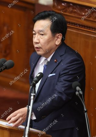 Japan's main opposition Constitutional Democratic Party of Japan leader Yukio Edano questions to Prime Minister Yoshihide Suga at Lower House's plenary session at the National Diet in Tokyo on Wednesday, October 28, 2020. Suga delivered his first policy speech at the Diet on October 26.