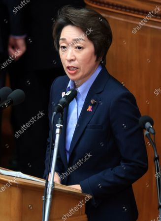 Japanese Olympic Minister Seiko Hashimoto answers questions to an opposition leader Yukio Edano of the Constitutional Democratic Party of Japan at Lower House's plenary session at the National Diet in Tokyo on Wednesday, October 28, 2020. Prime Minister Yoshihide Suga delivered his first policy speech at the Diet on October 26.