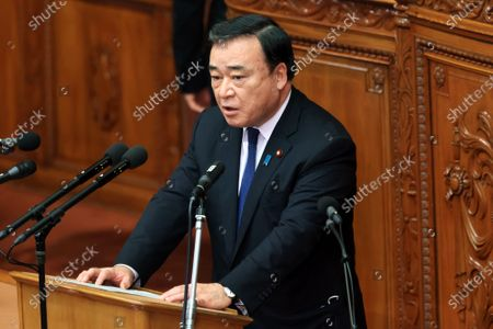 Japanese Economy, Trade and Industry Minister Hiroshi Kajiyama answers questions to an opposition leader Yukio Edano of the Constitutional Democratic Party of Japan at Lower House's plenary session at the National Diet in Tokyo on Wednesday, October 28, 2020. Prime Minister Yoshihide Suga delivered his first policy speech at the Diet on October 26.