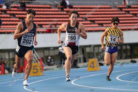 (L to R)  Hiroki Yatsuya,  Jun Mitake,  Masaru Yamanaka - Athletics :  Tokyo Athletics Middle Distance Challenge  Men's 800m  at Komazawa Olympic Park General Sports Ground in Tokyo, Japan.
