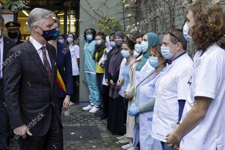 Editorial image of King Philippe visits WGC De Brug health centre, Brussels, Belgium - 28 Oct 2020