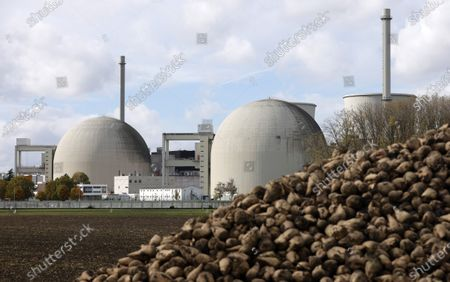 An exterior view of a part of the Nuclear power plant of energy company RWE in Biblis, Germany, 28 October 2020. According to the media reports, a planned transport of nuclear material from the Sellafield nuclear site in the UK to the German Biblis nuclear power plant will take place in November 2020.
