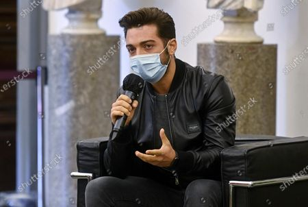 Stock Photo of Gianluca Ginoble, a member of the Italian operatic pop tenors Il Volo, attends a press presentation of the tribute event 'Il Volo Tribute to Ennio Morricone' in Rome, Italy, 28 October 2020. The tribute concert dedicated to the late Italian composer Ennio Morricone is to be held in Rome on 05 June 2021.