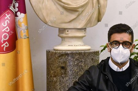 Piero Barone, a member of the Italian operatic pop tenors Il Volo, attends a press presentation of the tribute event 'Il Volo Tribute to Ennio Morricone' in Rome, Italy, 28 October 2020. The tribute concert dedicated to the late Italian composer Ennio Morricone is to be held in Rome on 05 June 2021.
