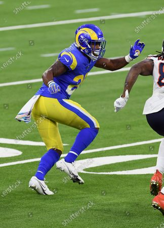 Los Angels Rams safety Terrell Burgess (26) covers a receiver during an NFL football game against the Chicago Bears, in Inglewood, Calif. The Rams defeated the Bears 24-10