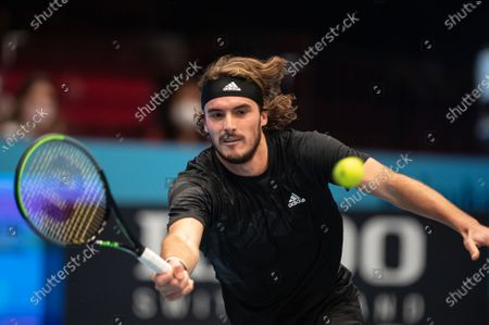 Stefanos Tsitsipras of Greece in action during his first round match against Jan-Lennard Struff of Germany at the Erste Bank Open ATP tennis tournament in Vienna, Austria, 28 October 2020.