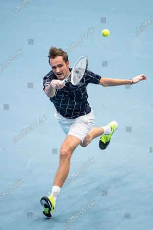 Stock Image of Daniil Medvedev of Russia in action during his first round match against Jason Jung of Taiwan at the Erste Bank Open ATP tennis tournament in Vienna, Austria, 28 October 2020.