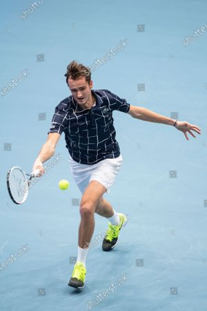 Stock Photo of Daniil Medvedev of Russia in action during his first round match against Jason Jung of Taiwan at the Erste Bank Open ATP tennis tournament in Vienna, Austria, 28 October 2020.