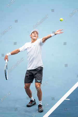Jason Jung of Taiwan in action during his first round match against Daniil Medvedev of Russia at the Erste Bank Open ATP tennis tournament in Vienna, Austria, 28 October 2020.