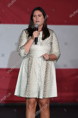 Stock Picture of Sarah Huckabee Sanders speaks during a campaign event