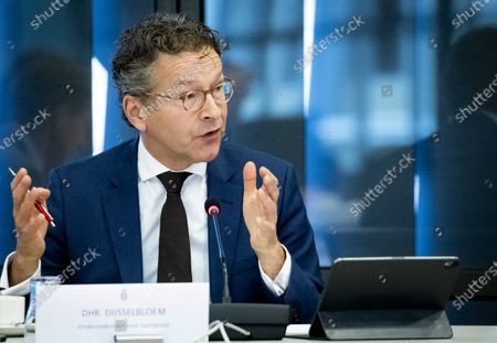 Stock Photo of Jeroen Dijsselbloem, chairman of the Dutch Safety Board (OVV), speaks during a hearing in the Lower House on the container disaster with the MSC Zoe in the Dutch parliament in The Hague, the Netherlands, 28 October 2020. In early 2018, the MSC Zoe lost 342 containers during a north-westerly storm over the Wadden Islands in Netherlands.