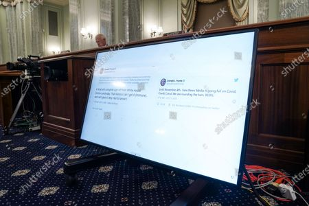 Stock Picture of Tweets from US President Donald J. Trump are seen as Sen. Tammy Baldwin (D-Wis.) asks questions during the Senate Commerce, Science, and Transportation Committee hearing 'Does Section 230's Sweeping Immunity Enable Big Tech Bad Behavior?', on Capitol Hill in Washington, DC, USA, 28 October 2020. CEO of Twitter Jack Dorsey; CEO of Alphabet Inc. and its subsidiary Google LLC, Sundar Pichai; and CEO of Facebook Mark Zuckerberg all testified virtually at the hearing. Section 230 of the Communications Decency Act guarantees that tech companies can not be sued for content on their platforms, but the Justice Department has suggested limiting this legislation.
