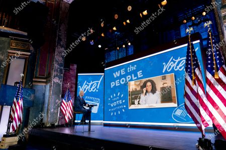 """Democratic presidential candidate former Vice President Joe Biden appears on a """"Zoom with Oprah Winfrey"""" virtual show at The Queen theater in Wilmington, Del"""