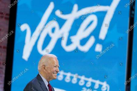 """Stock Picture of Democratic presidential candidate former Vice President Joe Biden appears on a """"Zoom with Oprah Winfrey"""" virtual show at The Queen theater in Wilmington, Del"""
