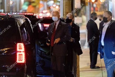 """Democratic presidential candidate former Vice President Joe Biden speaks to reporters as he leaves The Queen theater in Wilmington, Del., after appearing on a """"Zoom with Oprah Winfrey"""" virtual show"""