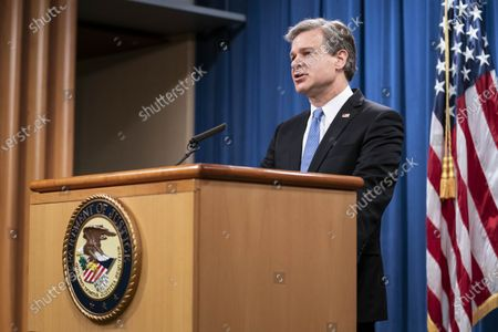 FBI Director Christopher Wray speaks during a virtual news conference at the Department of Justice in Washington, DC, USA, 28 October 2020. Eight people have been arrested in connection to 'Operation Fox Hunt' an effort by China to threaten people to return to the country.