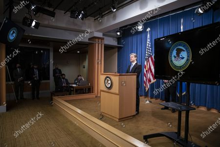 FBI Director Christopher Wray speaks during a virtual news conference at the Department of Justice in Washington, DC, USA, 28 October 2020. Eight people have been arrested in connection to 'Operation Fox Hunt' an effort by China to threaten and coerce Chinese nationals viewed as threats to the regime to return to the country.