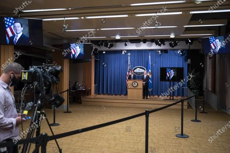 Editorial image of Justice Department Officials Brief Media On Arrests connected to Operation Fox Hunt, Washington, USA - 28 Oct 2020