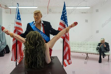 """Donald Trump"", 2020, is presented by satirical artist Alison Jackson (R), on display at the Soho Revue Gallery in Soho, 28 October to 3 November 2020. Constituents in the United States will cast their vote in the upcoming Presidential Election on 3 November."