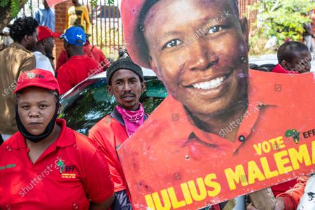 Supporters wearing red party T-shirts during the appearing. Julius Malema and the party's MP Mbuyiseni Ndlozi appear in Randburg Magistrate Court, on allegations that they assaulted a policeman.