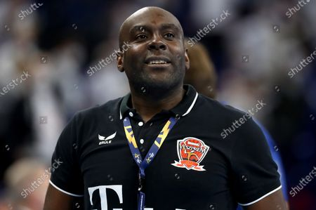 David Davis Camara, head coach of Veszprem reacts after the DELO EHF Champions League group stage handball match between THW Kiel and Telekom Veszprem at Wunderino Arena in Kiel, Germany, 28 October 2020.