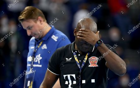Stock Picture of David Davis Camara, head coach of Veszprem reacts after the DELO EHF Champions League group stage handball match between THW Kiel and Telekom Veszprem at Wunderino Arena in Kiel, Germany, 28 October 2020.
