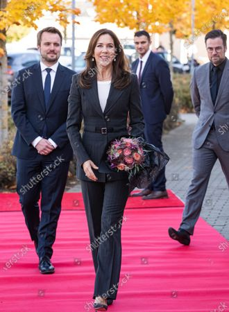 Stock Photo of Danish Crown Princess Mary arrives to inaugurate Denmark's health care visitor center 'Nation of Health' in Odense, Denmark, 28 October 2020. The new visitor center 'Nation of Health' will form the framework for future international delegation visits and thereby strengthen the branding of Danish products and solutions within healthcare and the welfare area.