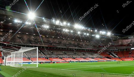 A general View of the Sir Alex Ferguson Stand inside Old Trafford before the UEFA Champions League group H match Manchester United vs RB Leipzig in Manchester, Britain 28 October 2020.