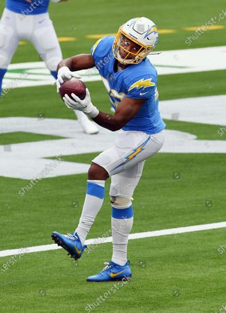 Los Angeles Chargers running back Justin Jackson (22) catches a pass during an NFL football game against the Jacksonville Jaguars, in Inglewood, Calif. The Chargers defeated the Jaguars 39-29