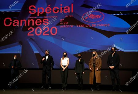 Jury members  French film director and producer Rachid Bouchareb, French producer Charles Gillibert, French actress Celine Sallette, Georgian film director Dea Kulumbegashvili, French film director Claire Burger and French actor Damien Bonnard attend the Cinefondation school films competition ceremony of the Cannes 2020 Special in Cannes, France, 28 October 2020. The 73rd edition of the Cannes Film Festival which was to be held in May 2020 was canceled due to the Covid-19 pandemic. The Cannes 2020 Special runs from 27 to 29 October.