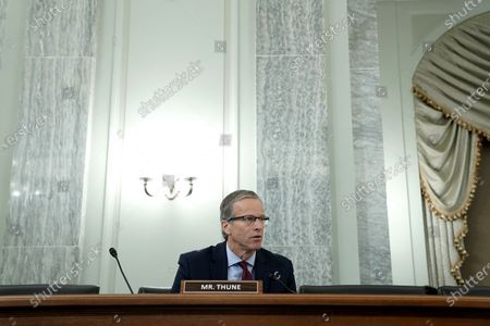 United States Senator John Thune (Republican of South Dakota) asks questions during a Senate Commerce, Science, and Transportation Committee hearing to discuss reforming Section 230 of the Communications Decency Act with big tech companies.