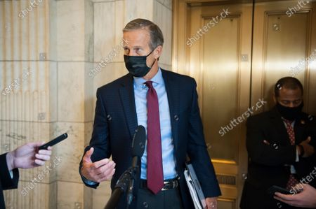 United States Senator John Thune (Republican of South Dakota) offers remarks to reporters after his exit from a Senate Committee on Commerce, Science, and Transportation hearing to examine Section 230 immunity; focusing on big tech, in the Russell Senate Office Building on Capitol Hill in Washington, DC.,. The three witnesses for this panel were Jack Dorsey, Chief Executive Officer, Twitter, Sundar Pichai, Chief Executive Officer, Alphabet Inc., Google and Mark Zuckerberg, Chief Executive Officer, Facebook.