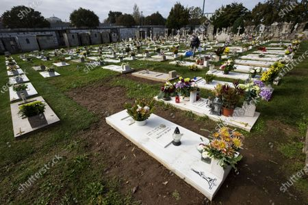A view of the Agramonte cemetery before All Saints' Day national holiday People all over Portugal are allowed to visit the cemetery before All Saints'Day national holiday to pay tribute to their deceased relatives due to the covid 19 restrictions of traveling outside their living area in Porto, Portugal.