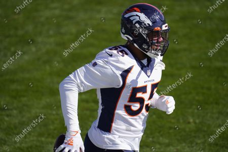Denver Broncos outside linebacker Bradley Chubb takes part in drills during an NFL football practice, at the team's headquarters in Englewood, Colo