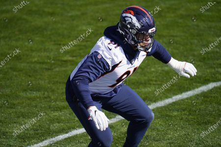 Denver Broncos outside linebacker Anthony Chickillo takes part in drills during an NFL football practice, at the team's headquarters in Englewood, Colo
