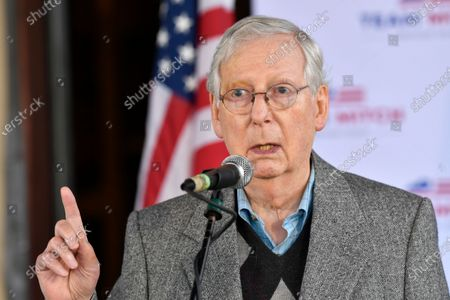 Senate Majority Leader Mitch McConnell, R-Ky., speaks to a gathering of supporters in Lawrenceburg, Ky