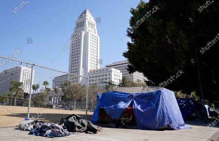 Homeless encampments, Los Angeles, United States - 28 Oct 2020 témájú szerkesztői fotó
