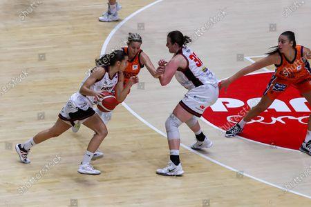 Alba Prieto, player of Duran Maquinaria Ensino de Lugo in action during the spanish women league, Liga Endesa Femenina, basketball match played between Valencia Basket and Ensino at Fuente de San Luis pavilion on October 28, 2020 in Valencia, Spain.