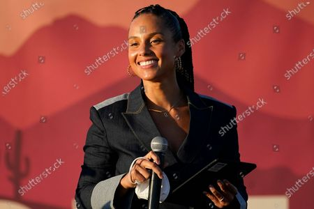 Alicia Keys speaks at a campaign event for Democratic vice presidential candidate Sen. Kamala Harris, D-Calif., in Phoenix
