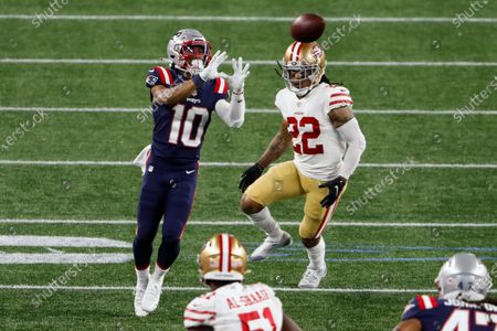 New England Patriots wide receiver Damiere Byrd goes up for a catch against San Francisco 49ers cornerback Jason Verrett during an NFL football game at Gillette Stadium, in Foxborough, Mass