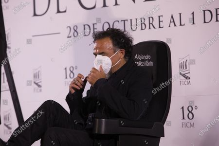 Alejandro Gonzalez Inarritu speaks during a conference at the Morelia International Film Festival in Morelia, Mexico, 28 October 2020. The cast and staff of the Mexican film 'Amores Perros', held a virtual conference to celebrate the films 20th anniversary, at the Festival Morelia International Film Festival (FICM).