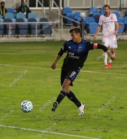 San Jose Earthquakes forward Chris Wondolowski scores a goal against Real Salt Lake during the second half of an MLS soccer match, in San Jose, Calif