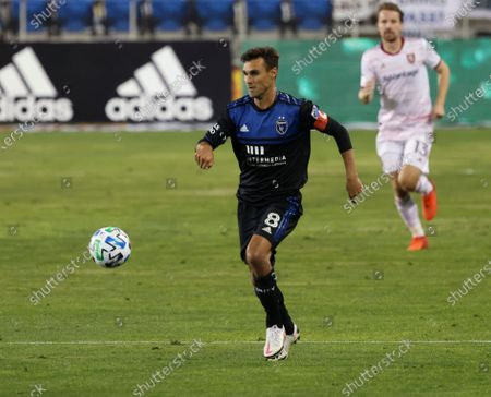 San Jose Earthquakes forward Chris Wondolowski (8) moves the ball down the field against Real Salt Lake during the second half of an MLS soccer match, in San Jose, Calif