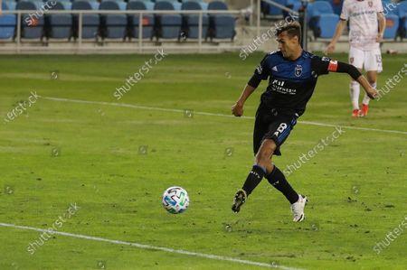 San Jose Earthquakes forward Chris Wondolowski scores against Real Salt Lake during the second half of an MLS soccer match, in San Jose, Calif