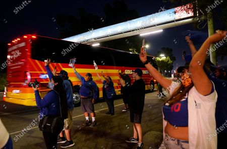 Los Angeles Dodgers fans welcome back the team on its return to Dodger Stadium in Los Angeles, . The Dodgers defeated the Tampa Bay Rays in the baseball World Series in Arlington, Texas