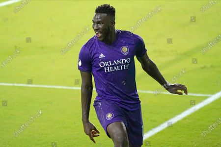 Orlando City forward Daryl Dike celebrates his goal against Atlanta United during the first half of an MLS soccer match, in Orlando, Fla