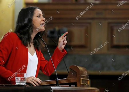Leader of Spanish Ciudadanos party, Ines Arrimadas, speaks during a debate on the State of Alarm, at the Lower House in Madrid, Spain, 29 September 2020. The Parliament is to vote a new extension of the State of Alarm issued by the Central Government in a bid to stop the coronavirus spread.