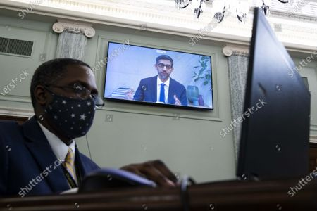 """Stock Photo of Sundar Pichai, CEO of Google and Alphabet, is seen on a screen during the hearing of U.S. Senate Committee on Commerce, Science, and Transportation titled """"Does Section 230's Sweeping Immunity Enable Big Tech Bad Behavior?"""" on Capitol Hill in Washington, D.C., the United States, on Oct. 28, 2020."""